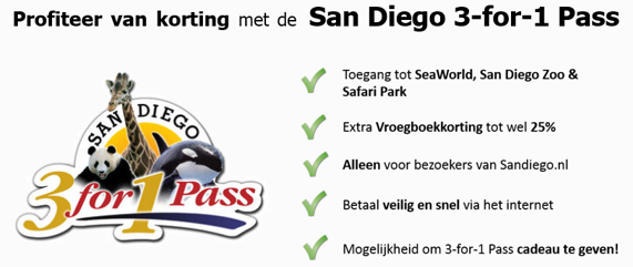 3 for 1 Pass The 3 for 1 Pass is a product that provides admission to three top San Diego attractions: the San Diego Zoo, San Diego Zoo Safari Park, and SeaWorld San Diego. These are some of the most popular attractions in the region for families, and with this product, you have unlimited visits to each park during the seven consecutive calendar days the pass is valid.